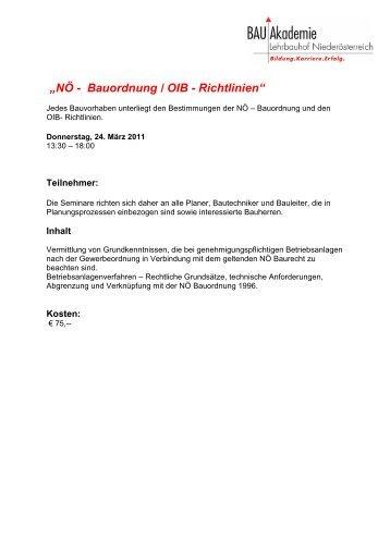 """""""NÖ - Bauordnung / OIB - Richtlinien"""""""