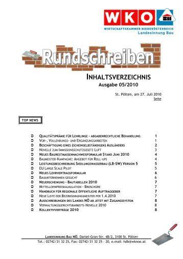 INHALTSVERZEICHNIS - Landesinnung Bau