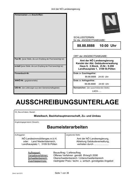 Muster Für Ausschreibungsunterlage Fassung 042010pdf