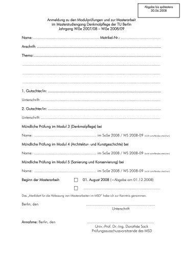 Anmeldung Bachelorarbeit Oder Masterarbeit Pdf Fb Medien