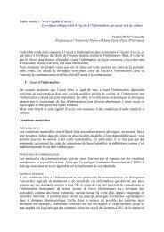 Table ronde 1 : Vers l'égalité d'accès : Les enjeux éthiques ... - Unesco