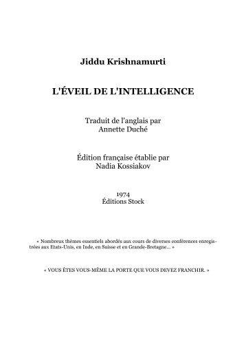 L'Eveil de l'intelligence - Grâce Présence