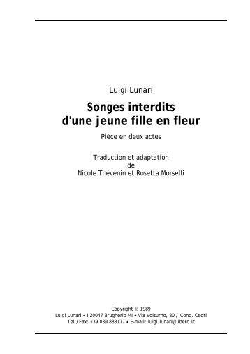 Songes interdits d'une jeune fille en fleur - Luigi Lunari