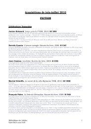 Acquisitions de juin-juillet 2010 FICTION - Saint-Brice-sous-Forêt