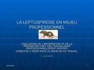 LA LEPTOSPIROSE EN MILIEU PROFESSIONNEL - Société de ...