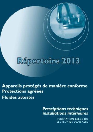Prescriptions techniques - Installations intérieures - Belgaqua