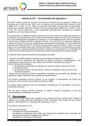 Intitulé du GT : « Surmortalité des égoutiers » - Afsset