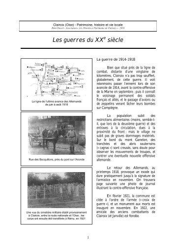Les guerres du XXe siècle - Mairie de Clairoix