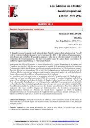janvier 2011 - Editions de l'Atelier