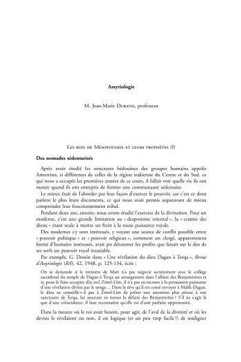 Les rois de Mésopotamie et leurs prophètes - Collège de France