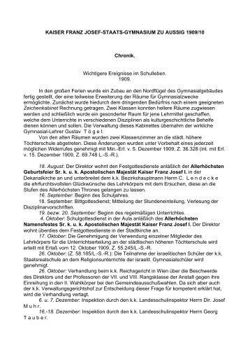 KAISER FRANZ JOSEF-STAATS-GYMNASIUM ZU AUSSIG 1909/10 ...