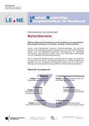 Informationen zur Lerneinheit Solarthermie - Modellversuch LENE