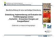 Fachwirt EE - BIBB / Berufsbildung für nachhaltige Entwicklung