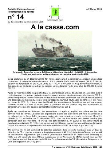 A la casse.com n°14, février 2009 - pdf 23 pages ... - Robin des Bois