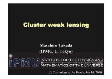 2. Cluster Weak Lensing - Berkeley Center for Cosmological Physics