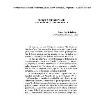 BORGES Y SHAKESPEARE - Universidad Nacional de Cuyo