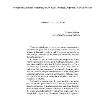 BORGES Y EL GAUCHO Mario Goloboff Universidad Nacional de ...