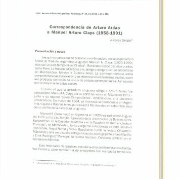 Correspondencia de Arturo Ardao a Manuel ... - Biblioteca Digital
