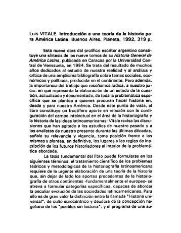 Luis VÍTALE. Introducción a una teoría de la historia pa- ra América ...