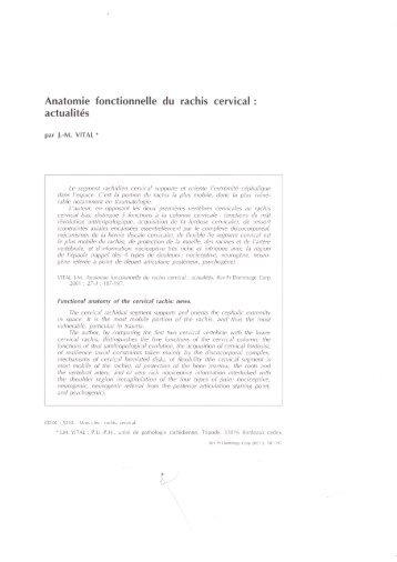 Anatomie fonctionnelle du rachis cervical - L'Institut de la Colonne ...