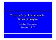 Toxicité de la chimiothérapie-soins de support, par le Dr M ...