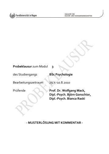 Probeklausur zum Modul 3 des Studiengangs BSc Psychologie ...