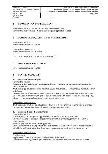 1. DENOMINATION DU MEDICAMENT Hexomedine solution 1 mg ...