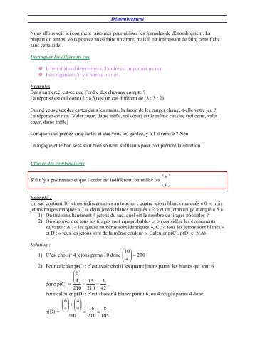 Nous allons voir ici comment raisonner pour utiliser les formules de ...