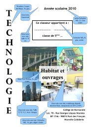 T E C H N O L O G I E Habitat et ouvrages Année scolaire 2010