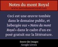 Nouvelle Traduction. - Notes du mont Royal
