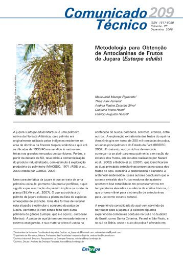 Metodologia para Obtenção de Antocianinas (209) - Embrapa ...