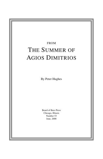 THE SUMMER OF AGIOS DIMITRIOS - Beard of Bees