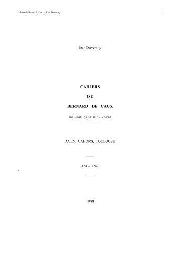 CAHIERS DE BERNARD DE CAUX - Jean Duvernoy