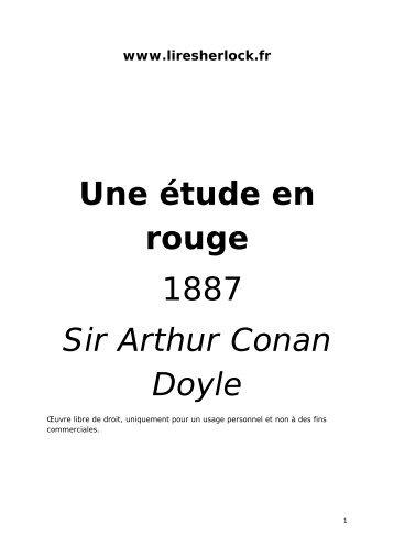 Une étude en rouge 1887 Sir Arthur Conan Doyle - Lire Sherlock