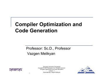 Compiler Optimization and Code Generation - UCSB CAD & Test