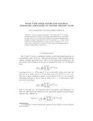 Hagelstein, P. A. and Stokolos, A. Weak type inequalities for ...