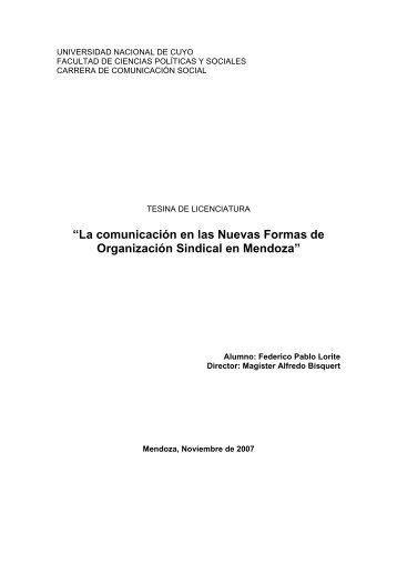 La comunicación en las Nuevas Formas de Organización Sindical ...