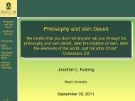 Philosophy and Vain Deceit - BearSpace - Baylor University