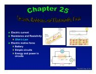 Electric current Resistance and Resistivity Ohm's Law ... - BearSpace