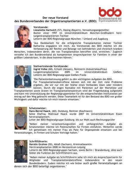 Der neue Vorstand - Bundesverband der Organtransplantierten e.V.