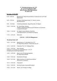 11. Patientenkongress der LOT 29. und 30. September 2007 Altes ...