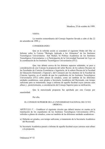 Ordenanza Nº 52 Mendoza, 25 de octubre de 1999. VISTO: La ...