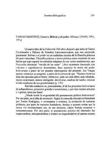 VARGAS MARTÍNEZ, Gustavo, Bolívar y el poder. México, UNAM ...