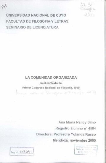 4% '54 Í - Biblioteca Digital - Universidad Nacional de Cuyo