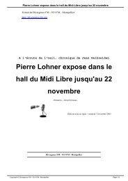 Pierre Lohner expose dans le hall du Midi Libre ... - Divergence FM
