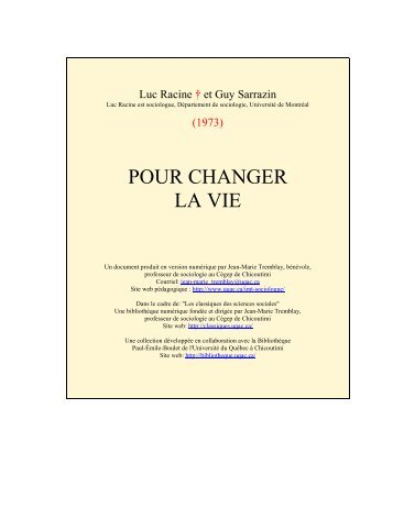 Pour changer la vie - Les Classiques des sciences sociales - UQAC