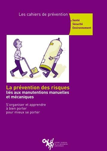 La prévention des risques liés aux manutentions manuelles - CNRS