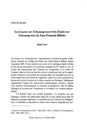 Lés Leçons sur Tchouang-tseu et les Etudes sur Tchouang ... - AFEC