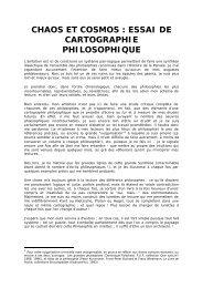 chaos et cosmos : essai de cartographie philosophique - Aloys Rigaut
