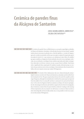 Cerâmica de paredes finas da Alcáçova de Santarém - uniarq